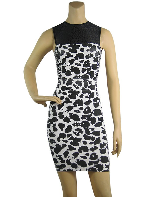Herve Leger Animals Art prints Mesh Sleeveless Bandage Dress