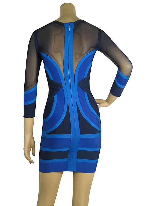 Herve Leger Art Colorblock Cross Straps See-through Bandage Dress