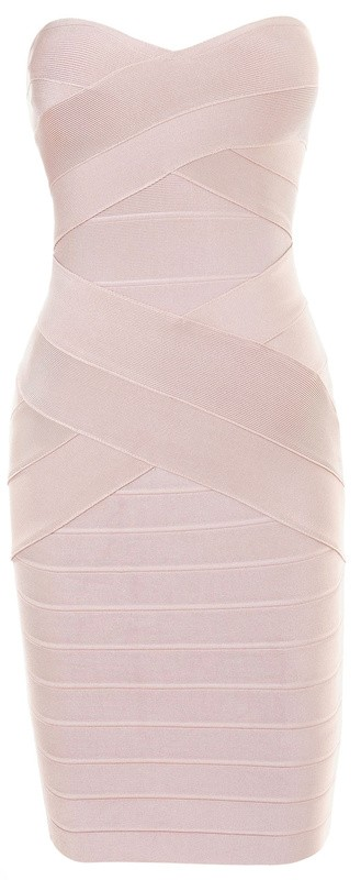 Herve Leger Beige Crisscross Strapless Bandage Dress