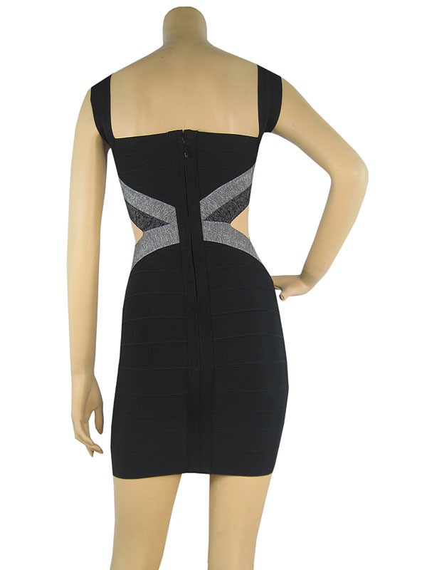 Herve Leger Black And Grey Colorblock Cutout Dress