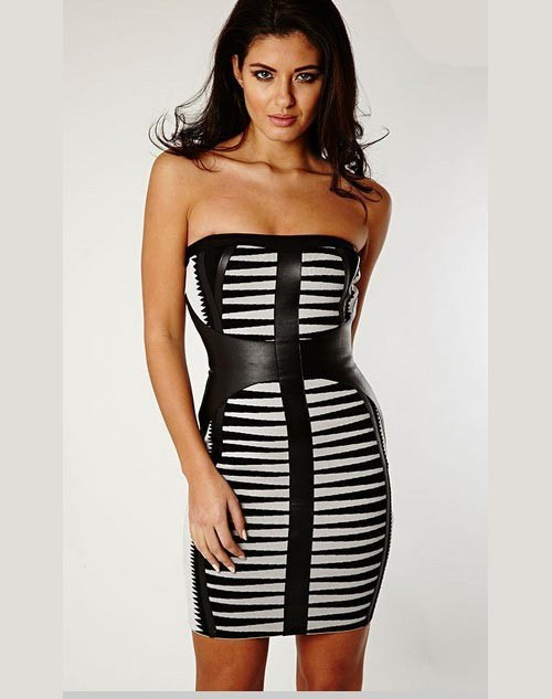 Herve Leger Black And White Art Jacquard Strapless Bandage Dress