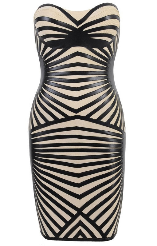 Herve Leger Black And White Colorblock Strapless Bandage Dress