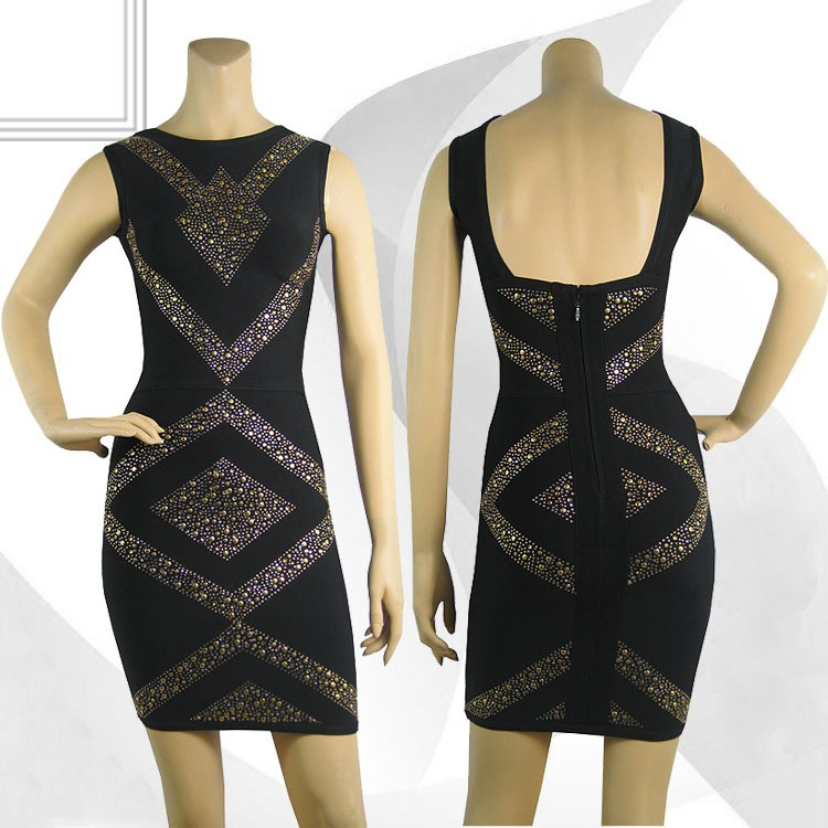 Herve Leger Black Beaded Sleeveless Dress