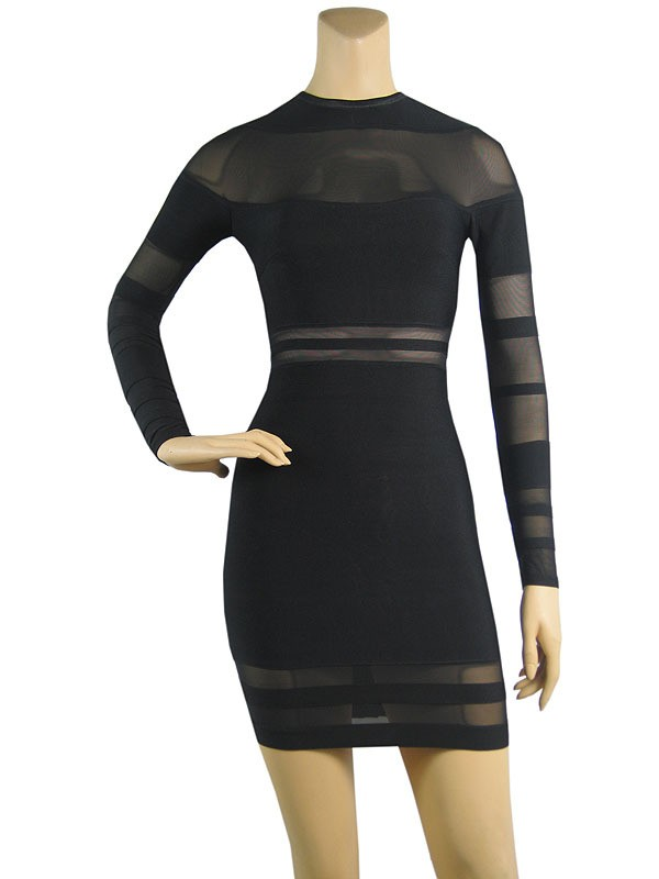 Herve Leger Black organza Bandage Dress