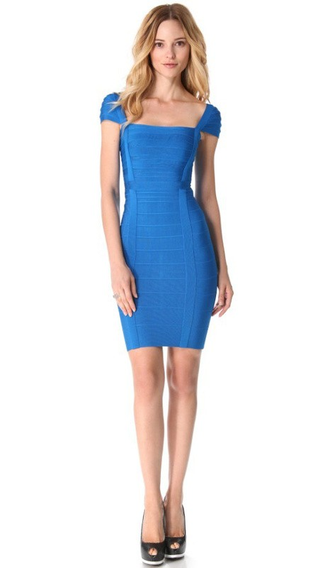 Herve Leger Blue Cap Sleeve Dress