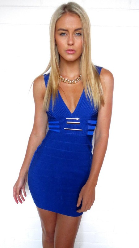 Herve Leger Blue V Neck Metal Embellished Dress