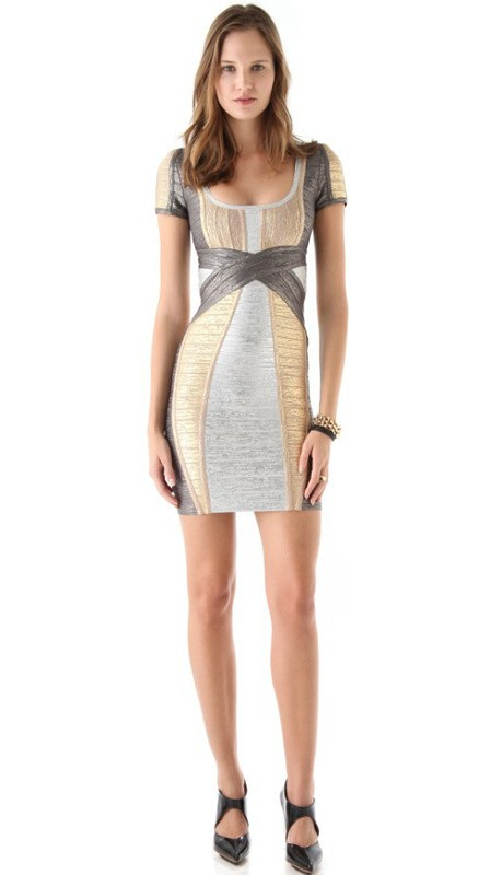Herve Leger Cap Sleeve Color Block Art Print Bandage Dress