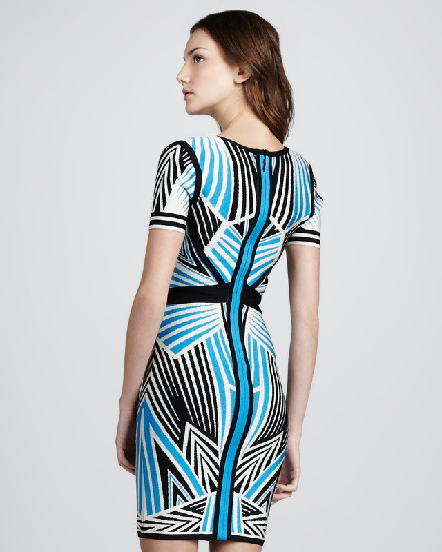 Herve Leger Cap Sleeve Diamond Art Stripe Jacquard Bandage Dress