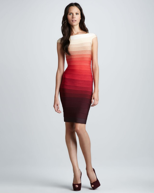 1e347a69add Herve Leger Cap Sleeve Gradient Colorblock Bandage Dress