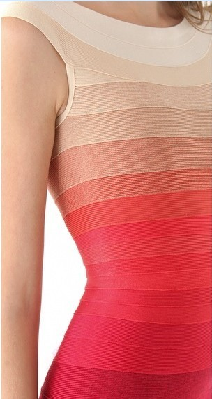 Herve Leger Cap Sleeve Gradient Colorblock Bandage Dress
