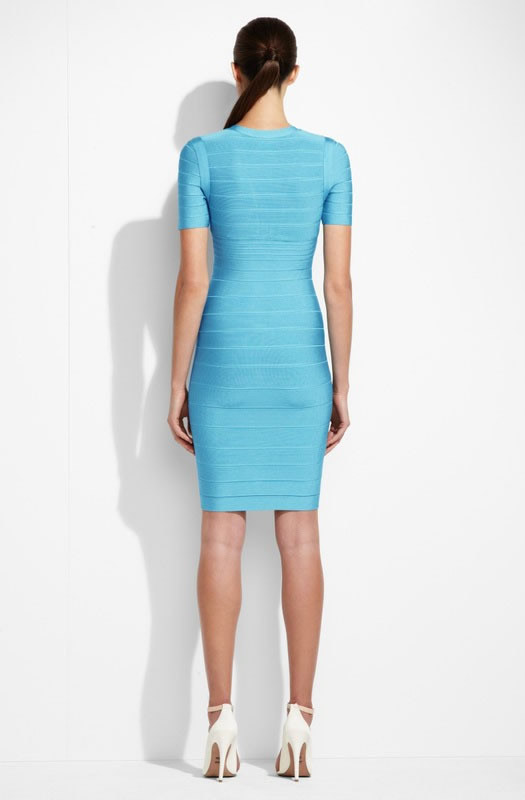 Herve Leger Deep V Neck Half Sleeve Light Blue Bandage Dress