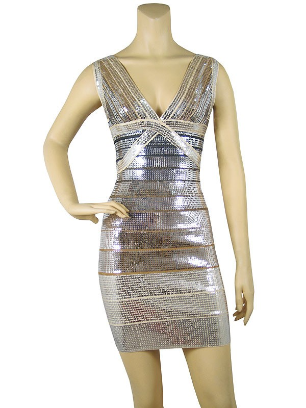 Herve Leger Deep V Neck Silver Sequined Bandage Dress
