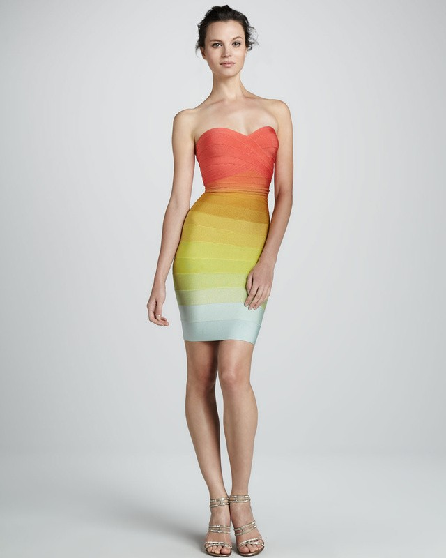 Herve Leger Fashion Strapless Sweetheart Rainbow Dress