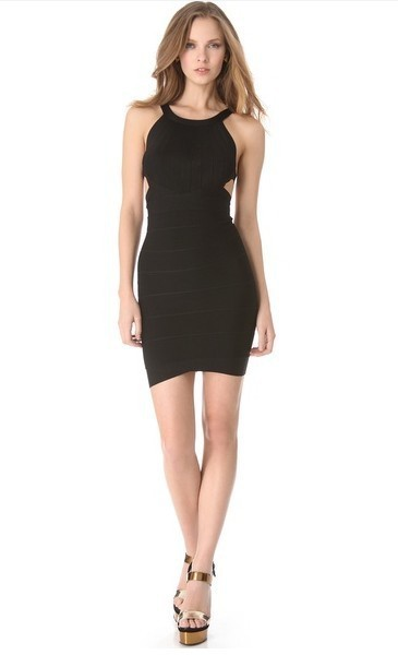 Herve Leger Halter Scoop Neck Black Bandage Dress