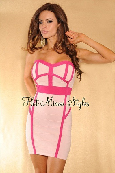 Herve Leger Hot Miami Strapless Colorblock Bandage Dress