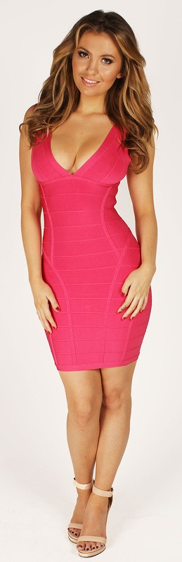 Herve Leger Hot Pink Deep V Neck Bandage Dress