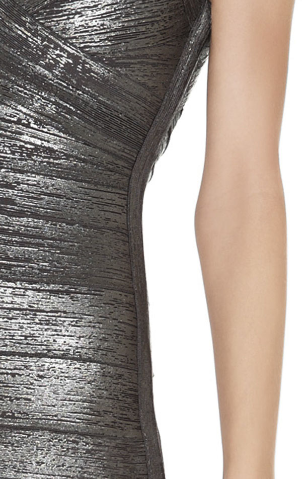 Herve Leger New A Line Woodgrain Art Print Bandage Dress