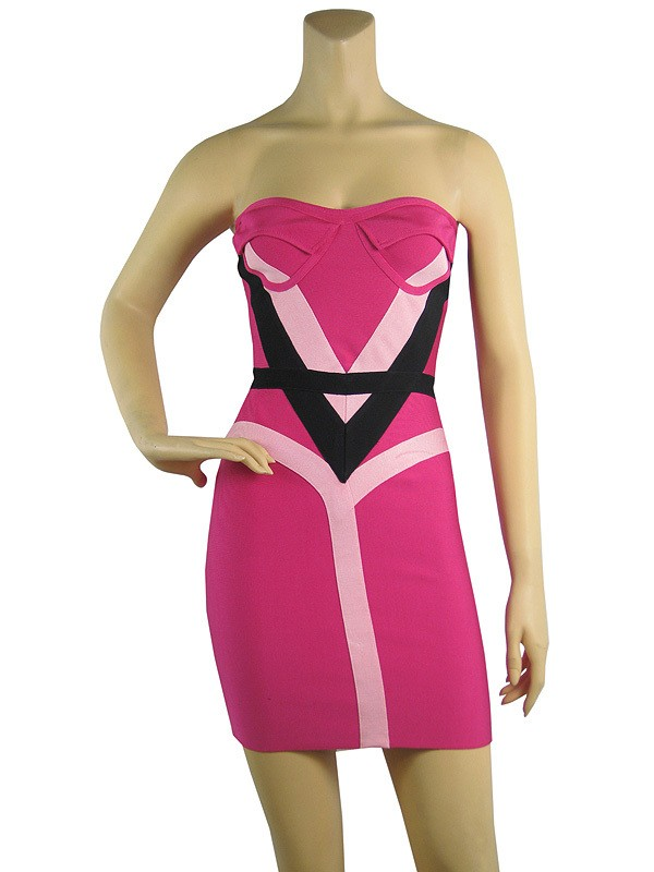 Herve Leger New Art Cross Straps Strapless Colorblock Bandage Dress