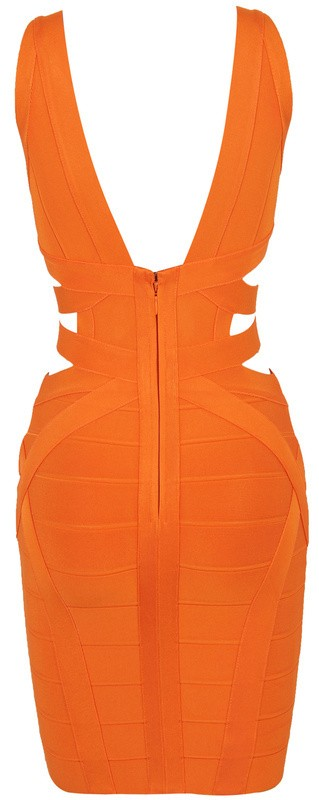 Herve Leger New Deep V Neck Cutout Orange Bandage Dress