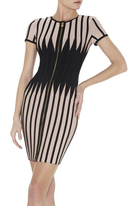 Herve Leger New Fashion Art Jagged Colorblock Bandage Dress