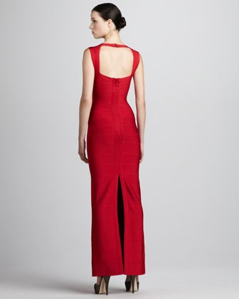 Herve Leger New Fashion Red V Neck Halter Bandage Gown