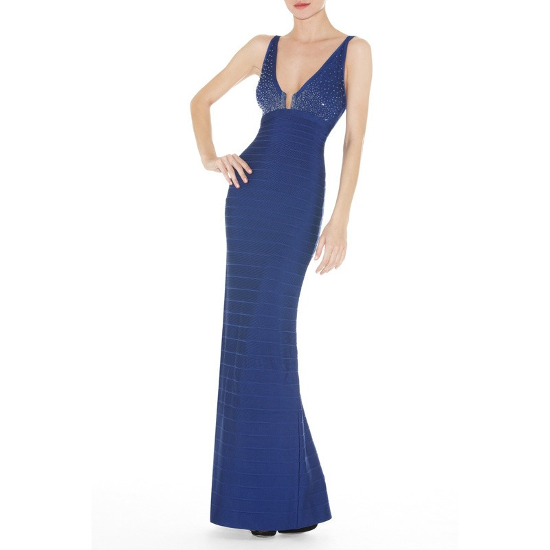 Herve Leger New Fashion Royal Blue V Neck Halter Bandage Gown