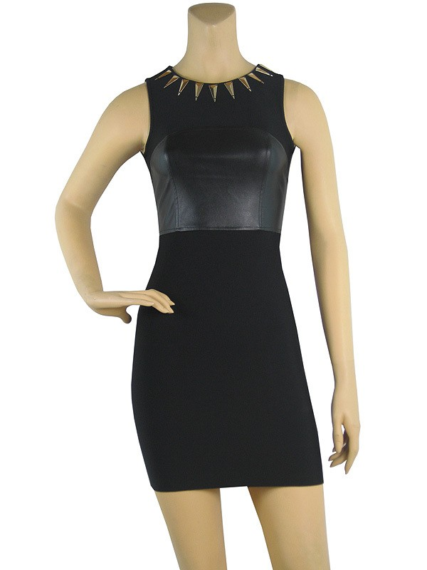 Herve Leger New Fashion Studded Neckline Black Bandage Dress