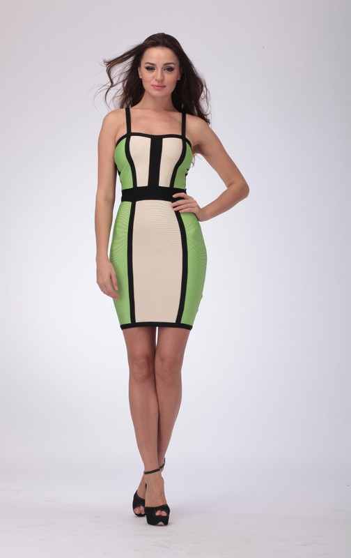 Herve Leger New Fashion Style Colorblock Halter Bandage Dress