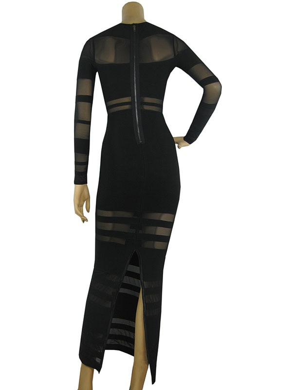 Herve Leger New Fashion Style Long Sleeve Black Gauze Gown