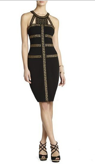 Herve Leger New Fashion Style Round Neck Black Beaded Dress