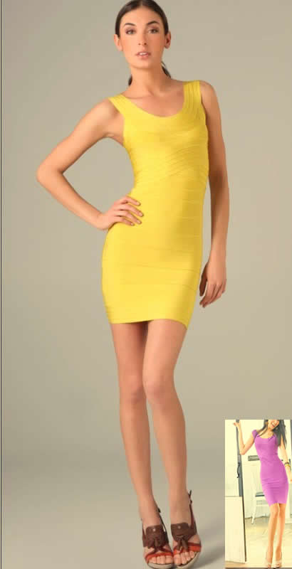 Herve Leger New Fashion Yellow Scoop Neck Bandage Dress