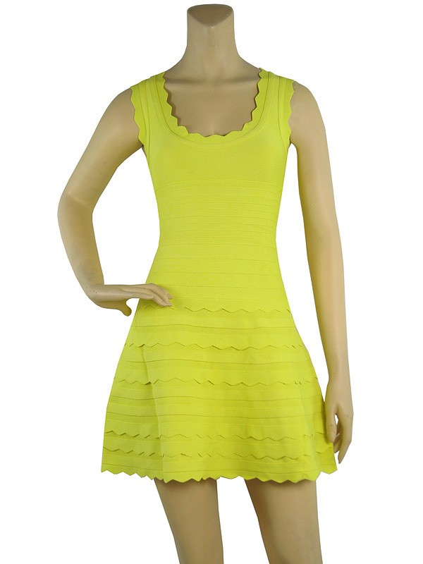 Herve Leger New Flare Yellow Bandage Dress