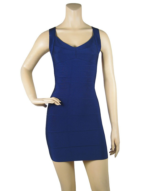 Herve Leger New Sexy Blue Halter Bandage Dress