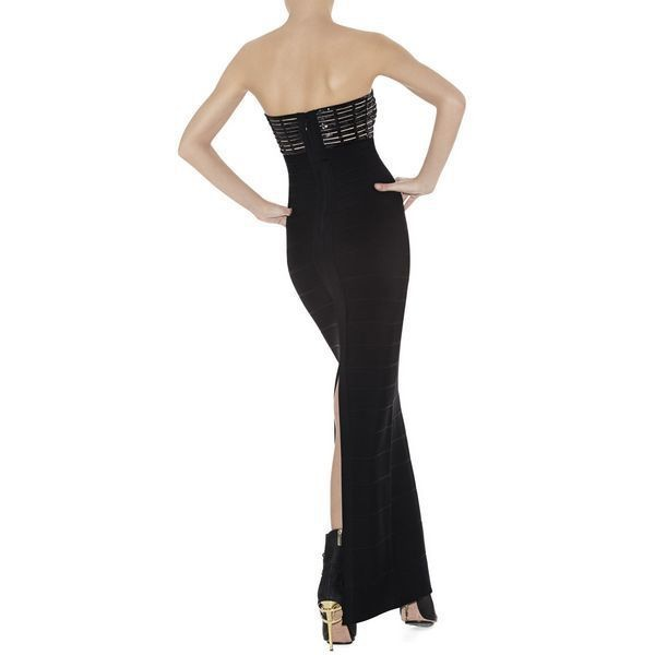 Herve Leger New Style Black Grid Strapless Bandage Gown