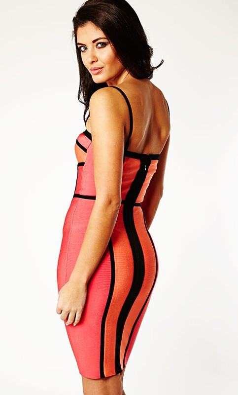 Herve Leger New Style Halter Colorblock Dress
