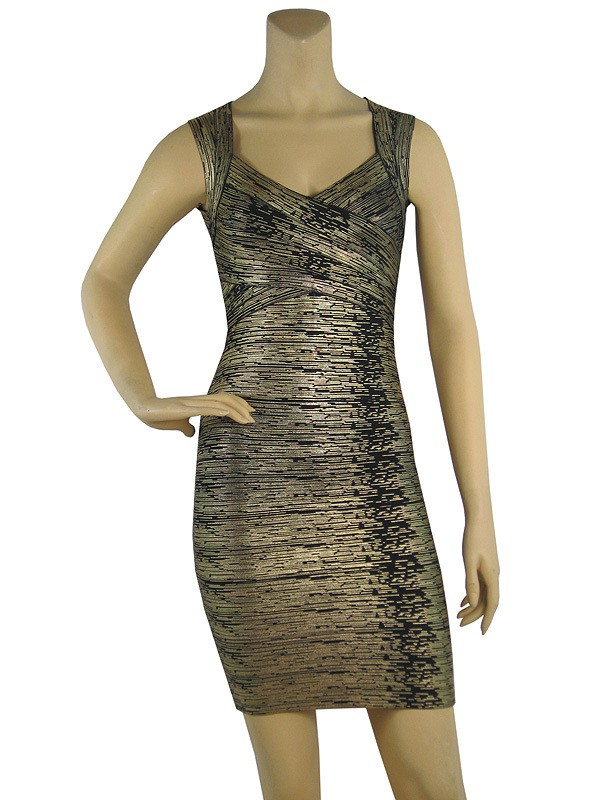 Herve Leger New Style Halter Woodgrain Art Print Dress