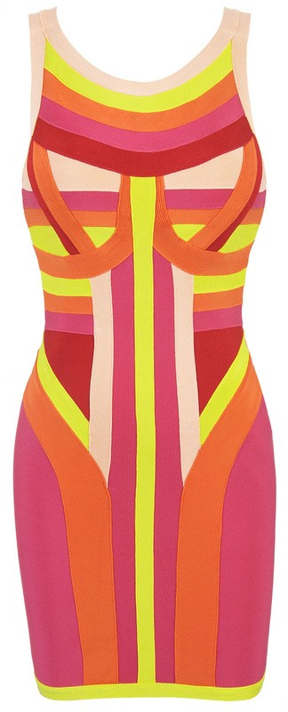 Herve Leger New Style Multi Color Tribal Dress