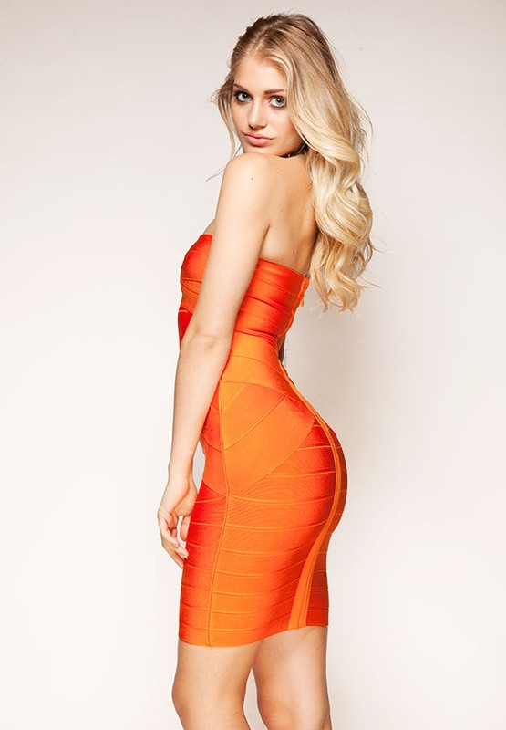 Herve Leger New Style Orange Crisscross Strapless Bandage Dress