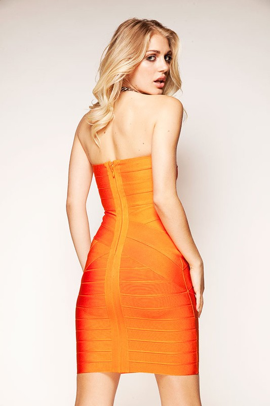 6d388e14766f Herve Leger New Style Orange Crisscross Strapless Bandage Dress ...
