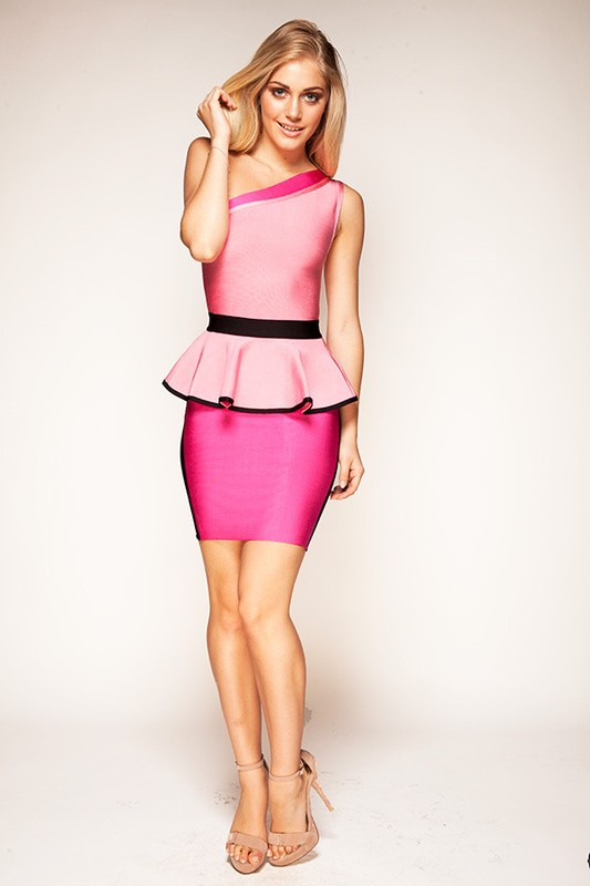 Herve Leger New Style Pink One Shoulder Dress