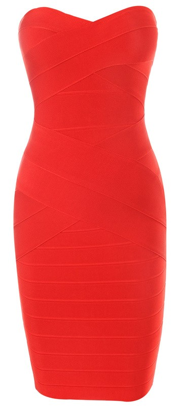 Herve Leger New Style Red Strapless Bandage Dress