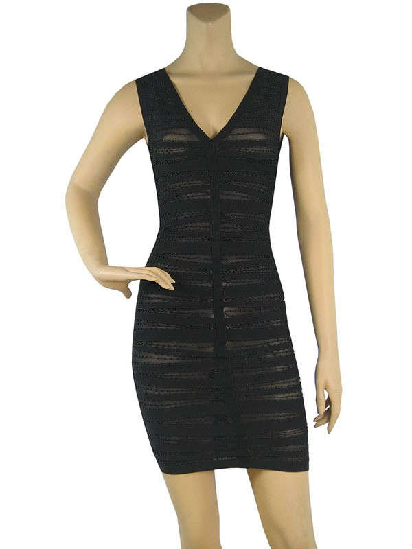 Herve Leger New Style V Neck Beaded Black Bandage Dress