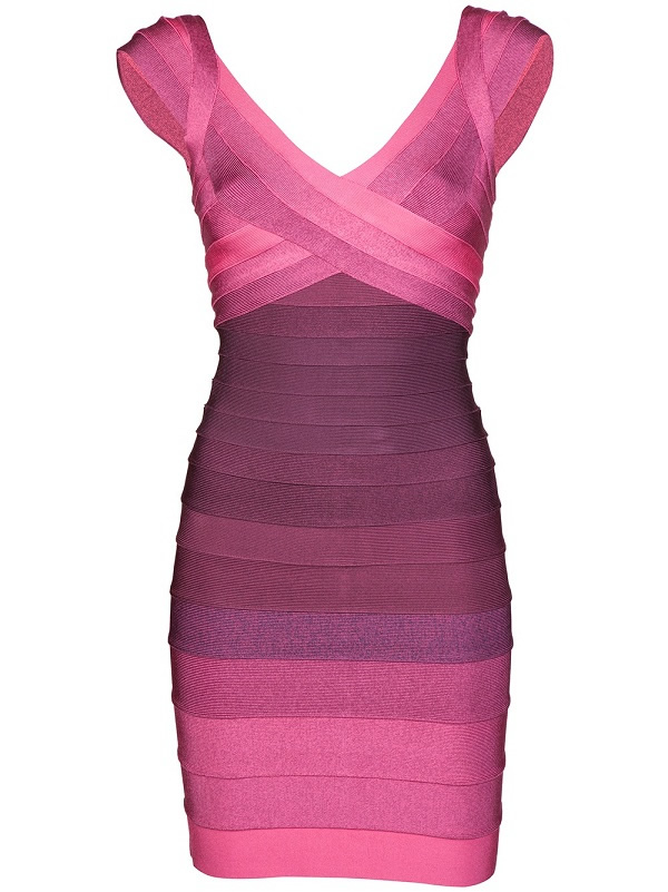 Herve Leger New Style V Neck Color Block Bandage Dress