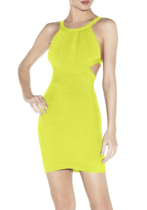 Herve Leger New Style Yellow Halter Bandage Dress