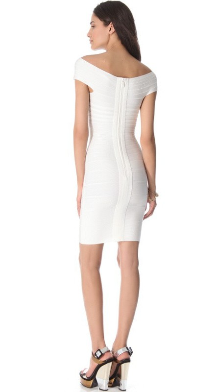 Herve Leger New White Off Shoulder Bandage Dress