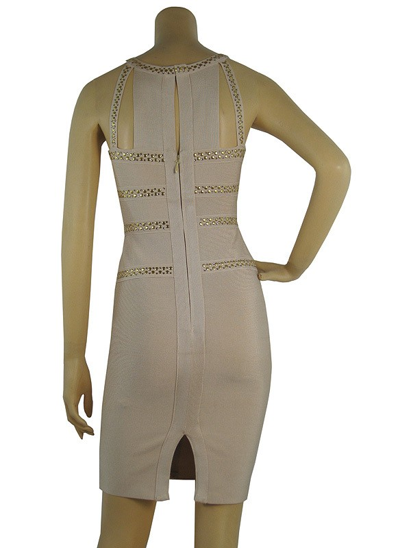 Herve Leger Nude Art Studded Bandage Dress