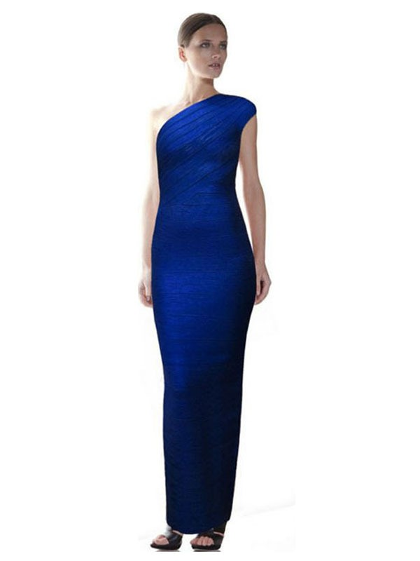 Herve Leger One Shoulder Blue Gown