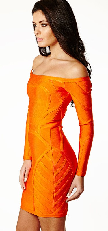 Herve Leger Orange Long Sleeve Strapless Bandage Dress