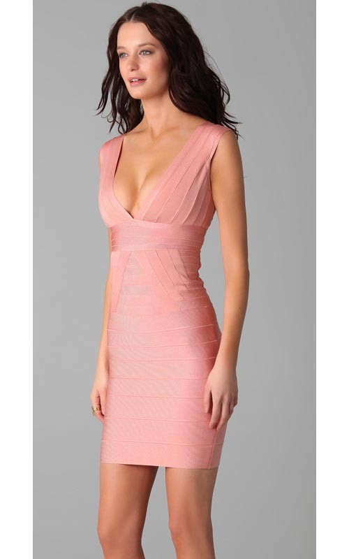 Herve Leger Pink Deep V Neck Bandage Dress
