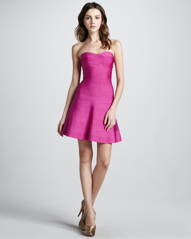 Herve Leger Pink Strapless Flared Dress